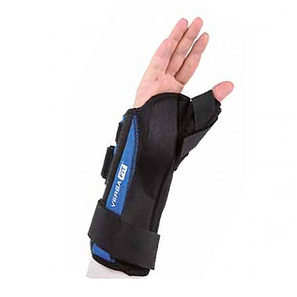Hand and forearm orthosis with a thumb hold